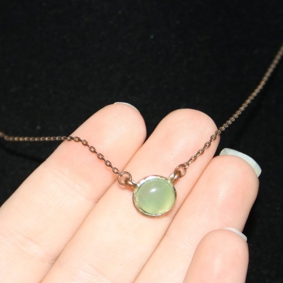 Vintagejelyfish Jewelry - Gold and green stone necklace 17""